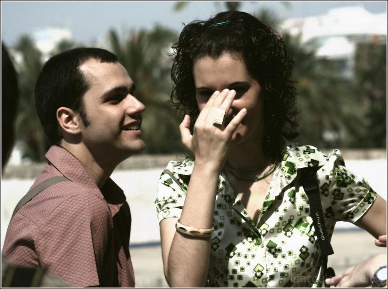Emma y Oscar en Sitges durante el encuentro de Barcelona Photobloggers.