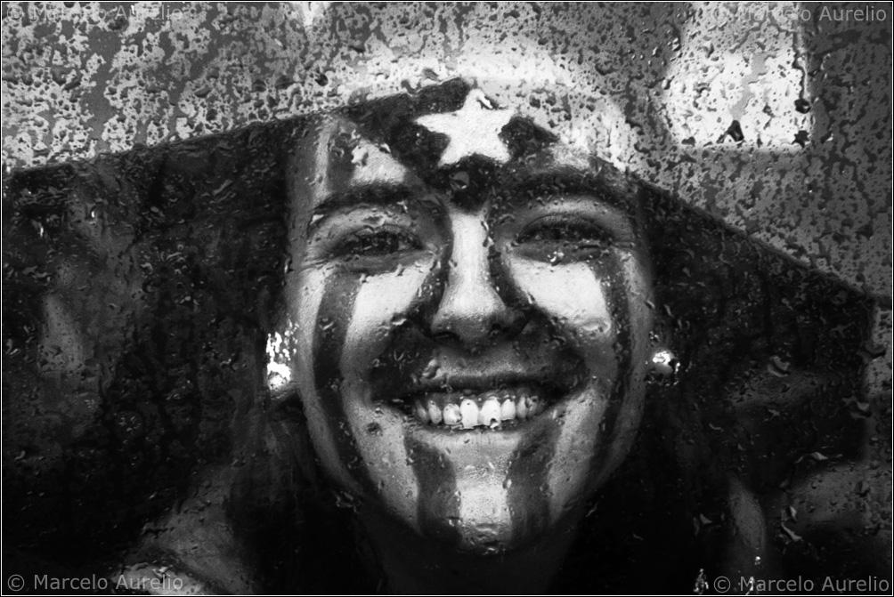 Estelada. Vallirana. Cadena humana de la Diada del 11 de septiembre de 2013