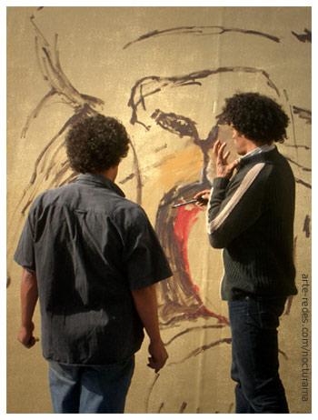 artistes - Hassan Darsi, Mohamed Fariji - acción en Esplanade de l'Institut Français de Casablanca