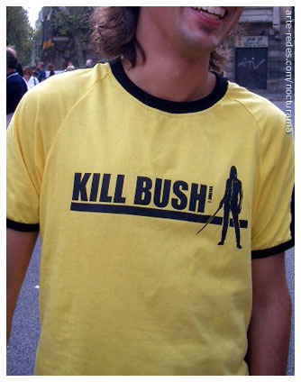 kill bush. plaza Urquinaona, Barcelona.