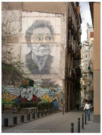 Mural de Rodríguez Gerada en el Raval, Barcelona.